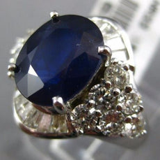 ESTATE LARGE 6.06CT DIAMOND & AAA SAPPHIRE 18KT WHITE GOLD OVAL ENGAGEMENT RING