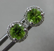 ESTATE 1.35CT DIAMOND & PERIDOT 14KT WHITE GOLD ROUND CLASSIC HALO STUD EARRINGS