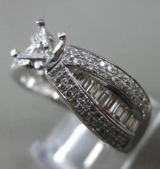 WIDE .75CT ROUND & BAGUETTE DIAMOND 14K WHITE GOLD 3D SEMI MOUNT ENGAGEMENT RING
