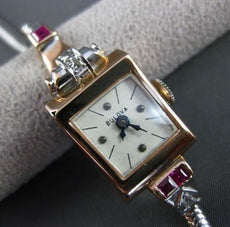 ANTIQUE .58CT OLD MINE DIAMOND AAA RUBY 14K WHITE & ROSE GOLD BLOVA WATCH #22618