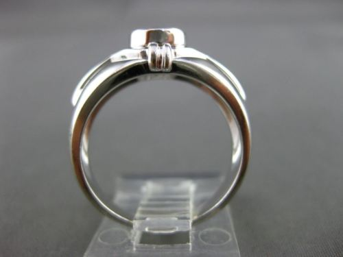ESTATE WIDE .45CT SOLITAIRE DIAMOND 14KT WHITE GOLD BEZEL ENGAGEMENT RING #5938