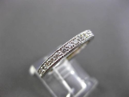 ANTIQUE .70CT DIAMOND 14KT WHITE GOLD FILIGREE ANNIVERSARY ETERNITY RING #18607
