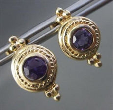 ESTATE 1.40CT AAA AMETHYST 14K YELLOW GOLD SOLITAIRE FILIGREE EARRINGS #1413