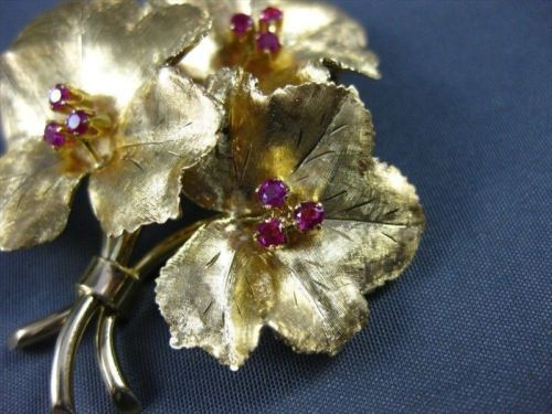 ESTATE LARGE .40CT AAA RUBY 18KT Y GOLD TIFFANY & CO. FLOWER PIN / BROOCH #2805