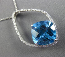 ESTATE X LARGE 8.41CT DIAMOND & AAA BLUE TOPAZ 14KT WHITE GOLD FLOATING PENDANT