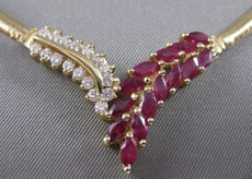 ESTATE 3.32CT DIAMOND MARQUISE RUBY 14K YELLOW GOLD V SHAPE OMEGA NECKLACE 15822