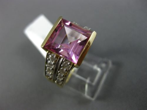 LARGE 5.50CT DIAMOND & AAA PINK TOPAZ 14KT YELLOW GOLD FILIGREE ENGAGEMENT RING