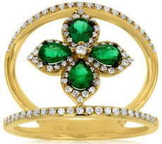 ESTATE .86CT DIAMOND & AAA EMERALD 14KT YELLOW GOLD 3D CLASSIC FLOWER LOVE RING