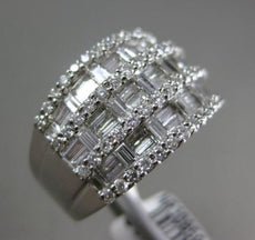 ESTATE WIDE 2.52CT DIAMOND 18KT WHITE GOLD 3D MULTI ROW WEDDING ANNIVERSARY RING