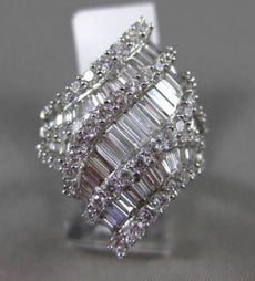 ESTATE MASSIVE 3.34CT BAGUETTE & ROUND DIAMOND 18KT WHITE GOLD 3D COCKTAIL RING
