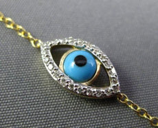ESTATE SMALL .11CT DIAMOND & TURQUOISE 14KT YELLOW GOLD LUCKY EVIL EYE BRACELET