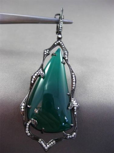 ANTIQUE MASSIVE 36.20CT DIAMOND & GREEN AGATE 14K BLACK GOLD 3D HANGING EARRINGS