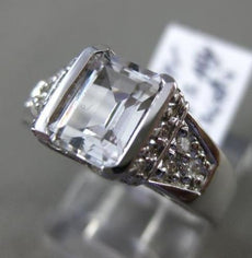 ESTATE WIDE CZ . 3D SEMI BEZEL FILIGREE ENGAGEMENT RING 14KT
