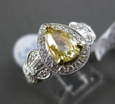 ESTATE 1.87CT FANCY YELLOW DIAMOND 18K TWO TONE GOLD 3D FILIGREE ENGAGEMENT RING