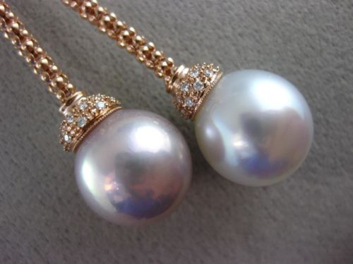 LARGE .42CT DIAMOND & WHITE PINK SOUTH SEA PEARL 18KT ROSE GOLD LARIAT NECKLACE