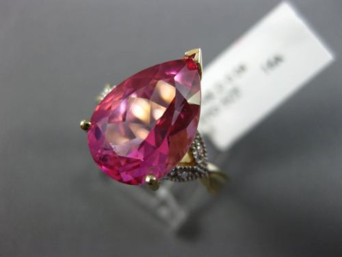 5.04CT DIAMOND & AAA PEAR SHAPE PINK TOPAZ 14KT YELLOW GOLD 3D ENGAGEMENT RING