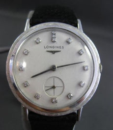 ANTIQUE LONGINES .45CT OLD MINE DIAMOND 14KT WHITE GOLD 3D ROUND MENS WATCH
