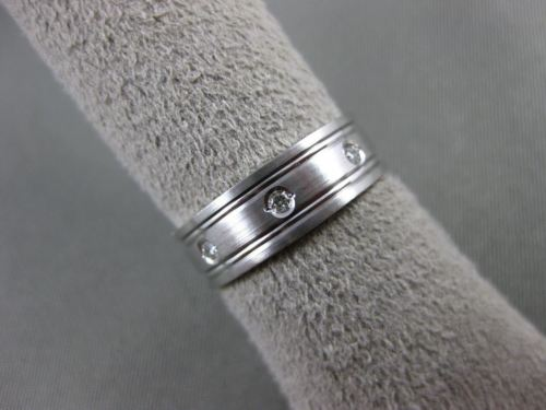 ESTATE WIDE DIAMOND 14KT WHITE GOLD MATTE & SHINY ETERNITY WEDDING RING #12487