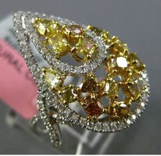 ESTATE LARGE 2.25CT WHITE & INTENSE DIAMOND 18K TWO TONE GOLD PEAR FILIGREE RING