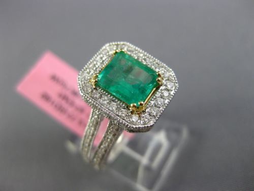 LARGE 2.44CT DIAMOND & AAA COLOMBIAN EMERALD 18K 2TONE GOLD HALO ENGAGEMENT RING