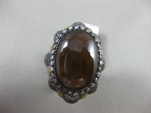 ANTIQUE EXTRA LARGE .90CT DIAMOND & AGATE 14KT BLACK & YELLOW GOLD FILIGREE RING