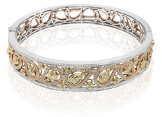 ESTATE WIDE 2.98CT WHITE & YELLOW DIAMOND 18KT TRI COLOR GOLD 3D BANGLE BRACELET