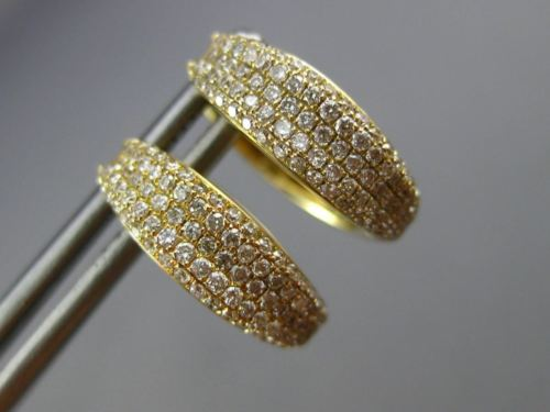 ESTATE .72CT DIAMOND 14KT YELLOW GOLD 3D MULTI ROW MICRO PAVE HUGGING EARRINGS