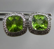 ESTATE 2.13CT DIAMOND & PERIDOT 14KT WHITE GOLD 3D SQUARE MILGRAIN STUD EARRINGS