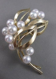 ESTATE VINTAGE MIKIMOTO 7MM PEARL 14KT YELLOW GOLD RARE LARGE PIN BROOCH #2557