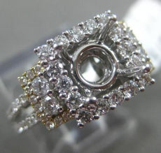 ESTATE LARGE 1.07CT DIAMOND 14K TWO TONE GOLD HALO 3D SEMI MOUNT ENGAGEMENT RING