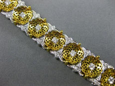 ESTATE WIDE & LONG 2.4CT DIAMOND 18K YELLOW GOLD FILIGREE FLOWER TENNIS BRACELET