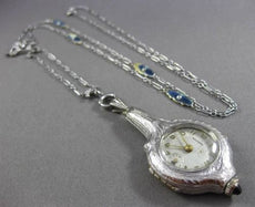 ANTIQUE .27CT DIAMOND & AAA SAPPHIRE PLATINUM WELSBRO LARIAT NECKLACE WATCH 1402