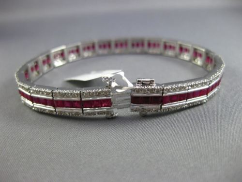 ESTATE WIDE 9.96CT DIAMOND & AAA RUBY 18KT WHITE GOLD 3D CLASSIC TENNIS BRACELET