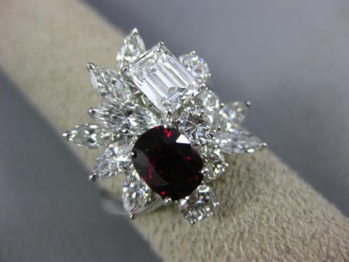 ESTATE LARGE 4.85CT DIAMOND & AAA RUBY PLATINUM CLUSTER FLOWER ANNIVERSARY RING