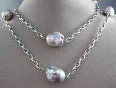 ESTATE EXTRA LONG LARGE 14KT WHITE GOLD SILVER & GRAY PEARL BY THE YARD NECKLACE