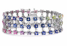 ESTATE 7.54CT AAA MULTI COLOR SAPPHIRE 14KT WHITE GOLD 3D FLOWER BANGLE BRACELET