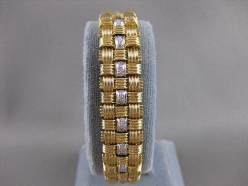 "ESTATE WIDE 23MM DIAMOND 18K WHITE YELLOW GOLD FANCY WOVEN BRACELET 7.00"" #20175"
