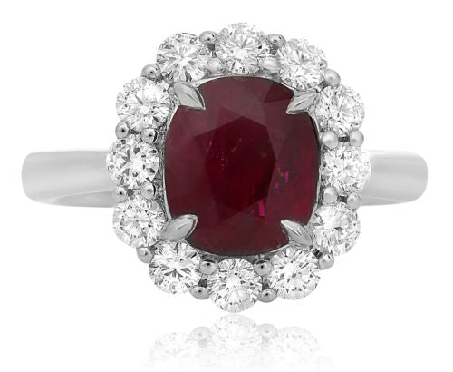 GIA CERTIFIED 3.66CT DIAMOND & AAA RUBY PLATINUM 3D SQUARE HALO PROMISE RING
