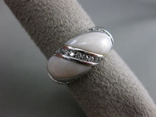 ESTATE WIDE .40CT DIAMOND 14KT WHITE GOLD AAA MOTHER OF PEARL INFINITY LOVE RING