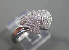 ESTATE WIDE .46CT DOUBLE HEART DIAMOND 14KT WHITE GOLD COCKTAIL RING #16912