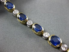 WIDE 11.37CT ROUND DIAMOND & SAPPHIRE 14K 2 TONE GOLD SEMI BEZEL TENNIS BRACELET