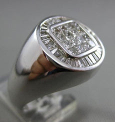 ESTATE LARGE 1.25CT BAGUETTE & PRINCESS DIAMOND 14KT WHITE GOLD SQUARE MENS RING