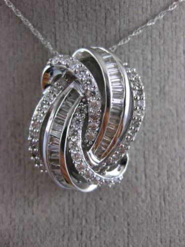 LARGE .75CT ROUND & BAGUETTE DIAMOND 14KT WHITE GOLD LOVE KNOT MULTI ROW PENDANT