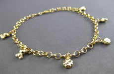 ESTATE EXTRA LONG 14KT YELLOW GOLD ITALIAN MULTI CHARM ANKLE BRACELET #23679