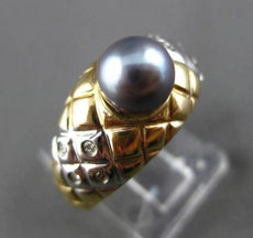 ESTATE .10CT DIAMOND & AAA TAHITIAN PEARL 14KT WHITE YELLOW GOLD 3D ETOILE RING