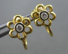 ANTIQUE .10CT DIAMOND 18KT WHITE & YELLOW GOLD SOLITAIRE FLOWER EARRINGS #17443