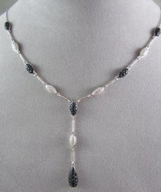 ANTIQUE 2.13CTW AAA SAPPHIRE & DIAMONDS DROP 14KT WHITE GOLD NECKLACE BEAUTIFUL!