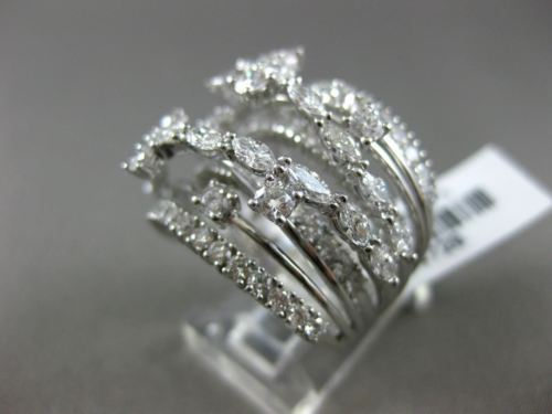 LARGE 3.28CT ROUND & MARQUISE DIAMOND 18KT WHITE GOLD CRISS CROSS MULTI ROW RING