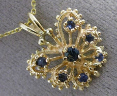 ANTIQUE .20CT SAPPHIRE 14K YELLOW GOLD 3D OPEN FILIGREE BUTTERFLY PENDANT #25418