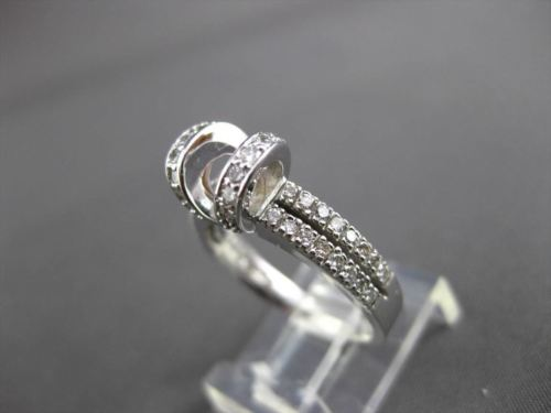 ESTATE WIDE .46CT DIAMOND 14KT WHITE GOLD 3D TENSION SEMI MOUNT ENGAGEMENT RING